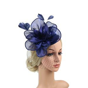 Party hats Fedoras hats for women Organza headdress Jockey Club net gauze hairdressing lady Prom top hat headband hairpin dual use