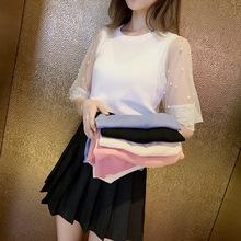 2019夏季甜美仙女网纱蕾丝刺绣拼接钉珠五分?#34892;?#20912;丝针织衫上衣