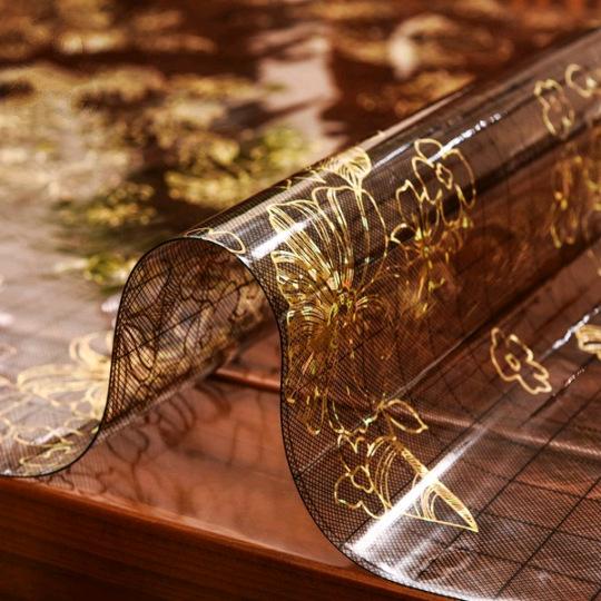新pvc台布塑胶印花磨砂桌垫 胶垫铺桌子桌面软玻璃透明餐桌垫子