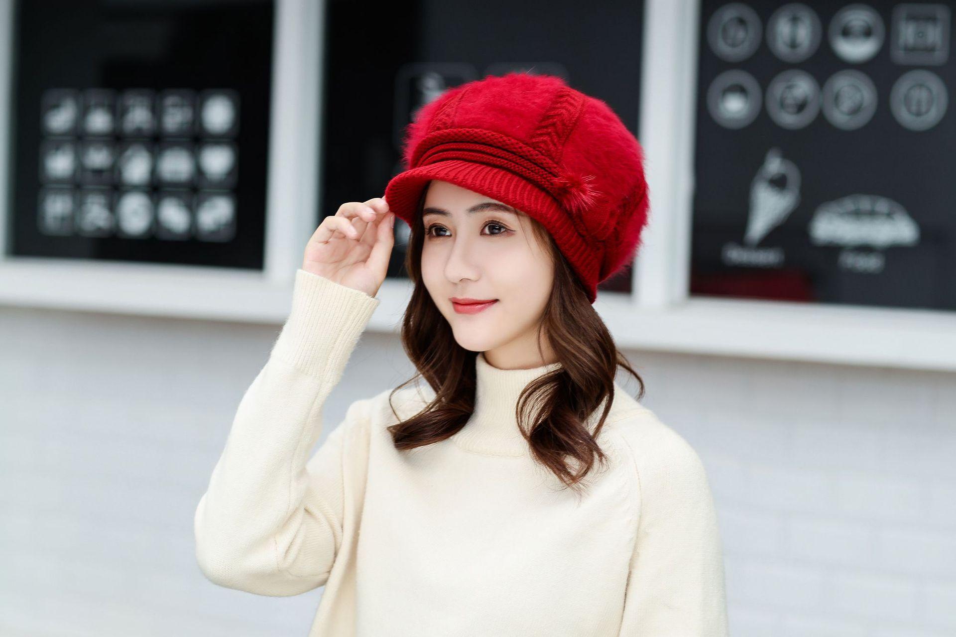 帽子女冬天纯色兔毛鸭舌一朵花帽韩版百搭简约保暖针织帽护耳