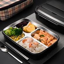 304不锈钢饭盒保温便当餐盒学生防烫带盖分格食堂韩国快餐午餐盒