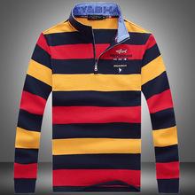 6651款--肯迪鯊魚新款秋裝男裝純棉條紋立領長袖T恤大碼 支持一件