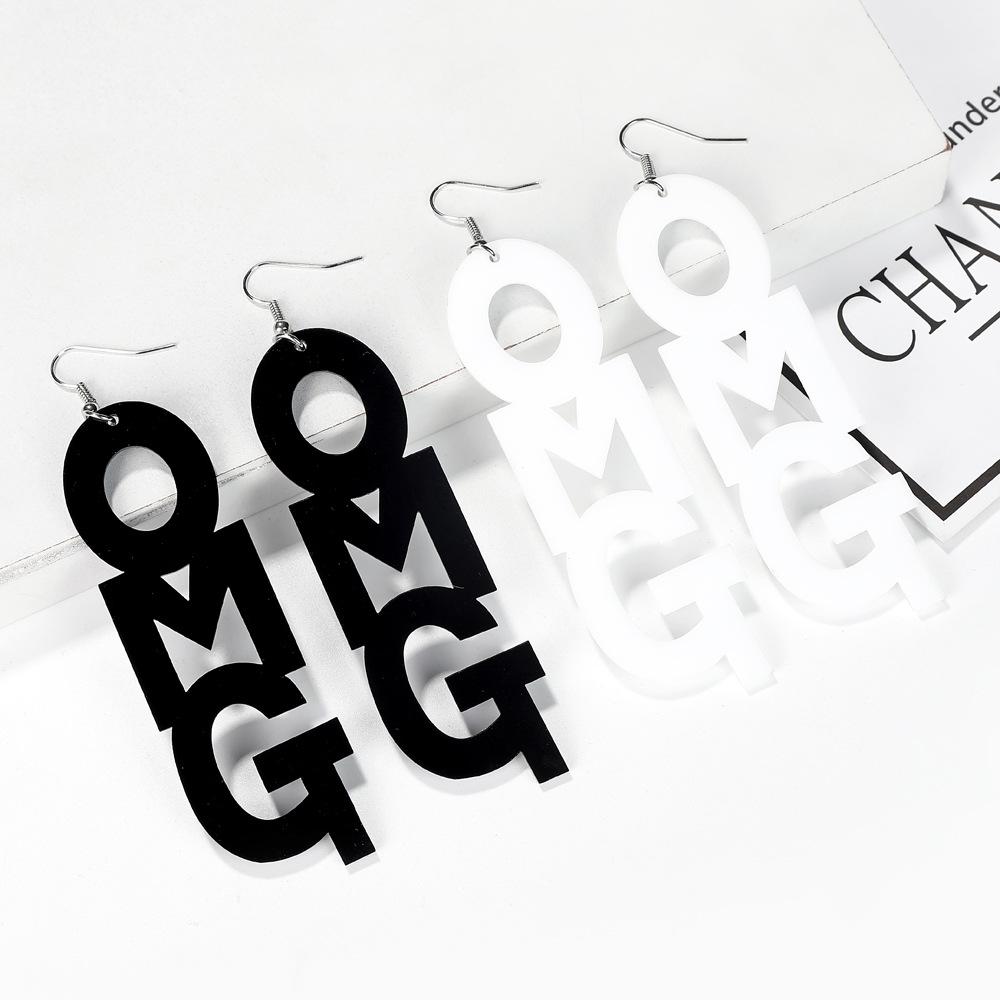 fashion acrylic OMG hip hop English alphabet exaggerated earrings NHXI243628