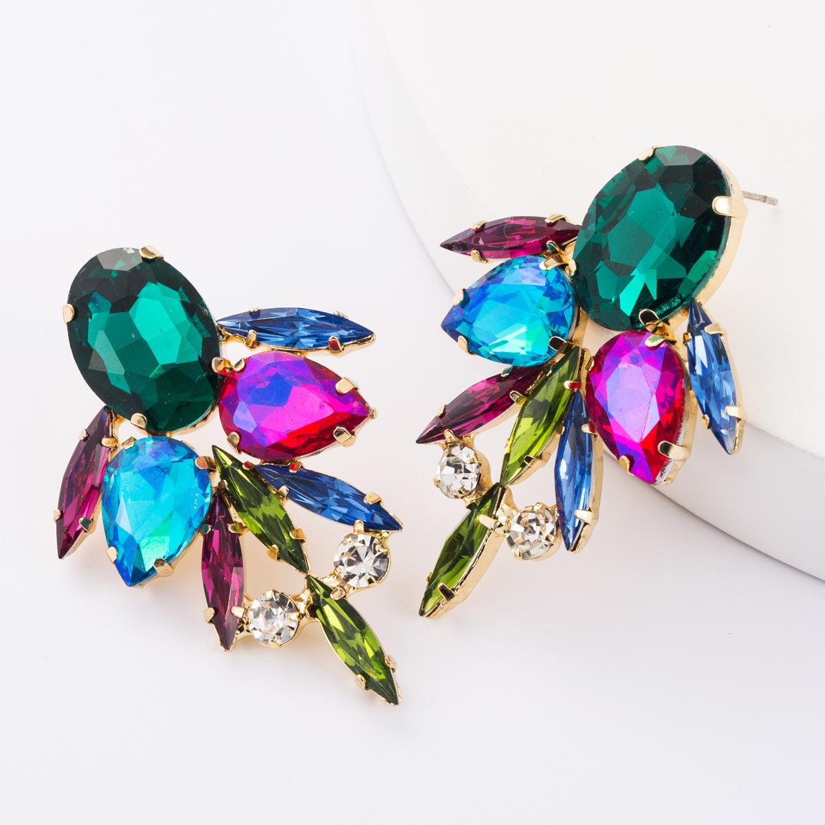 Multi-layer alloy diamond-studded glass drill rhinestone full diamond earrings female earrings NHJE177422