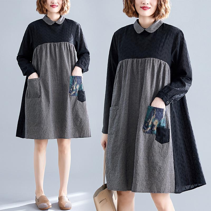 实拍2019秋季新款大码女装文艺棉麻格子拼色中长款长袖连衣裙