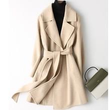 2019冬季新款系帶羊絨大衣雙面韓版氣質外貿通勤羊毛毛呢大衣女