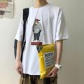 夏季男士丅恤短袖2019新款韩版潮流卡通印花宽松五分袖i情侣装T恤