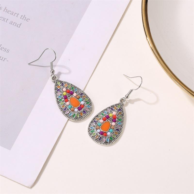 Drop oil earrings boho earrings retro colorful water drop earrings female color sun flower NHDP176394