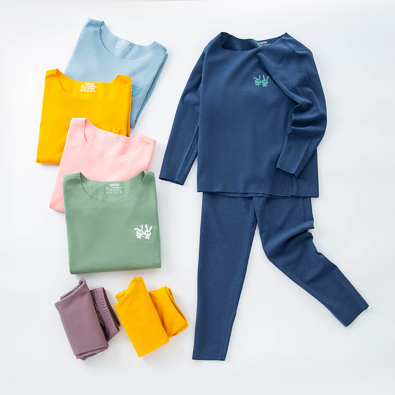 Boys and Girls Velvet Cold-proof Seamless Thermal Underwear Set