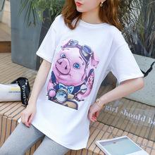 2019孕妇夏季新款时尚纯棉可爱甜美小猪印花舒?#24066;?#38386;宽松孕妇T恤