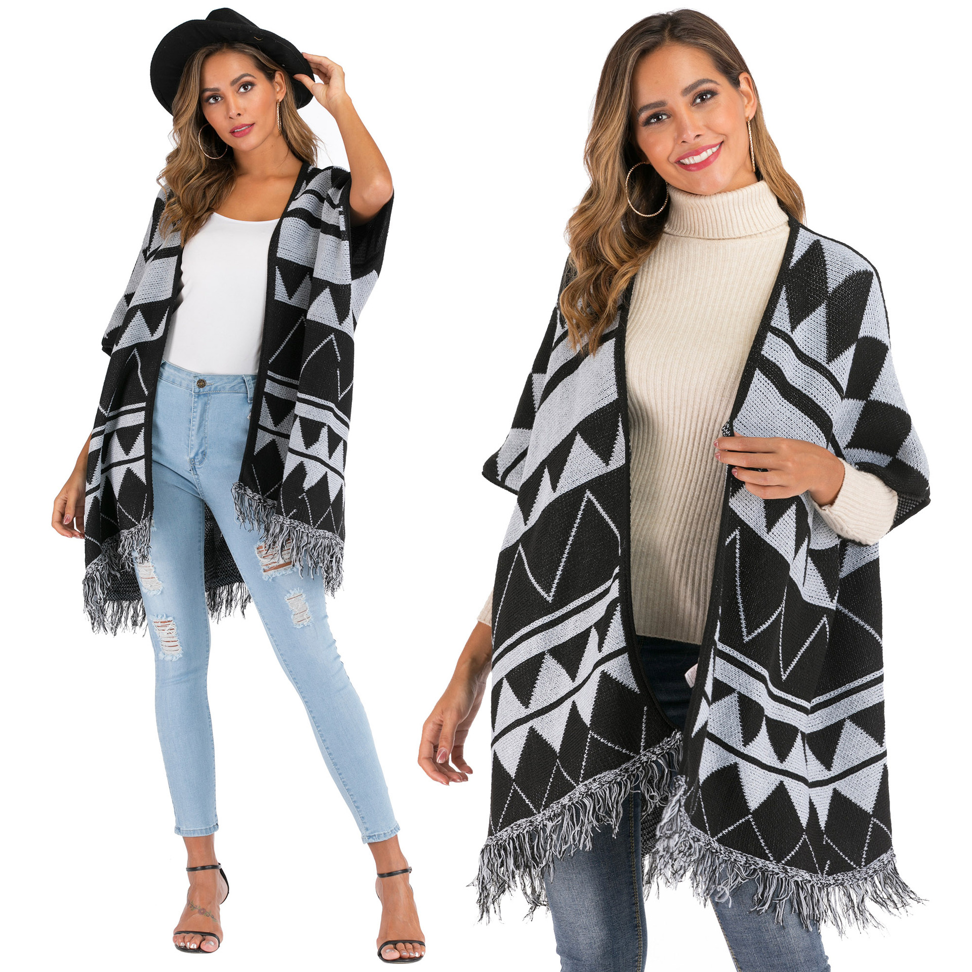 Loose, irregular geometry, jacquard, tassel, split sleeve, Cape, cardigan, Outerwear, women's 1458
