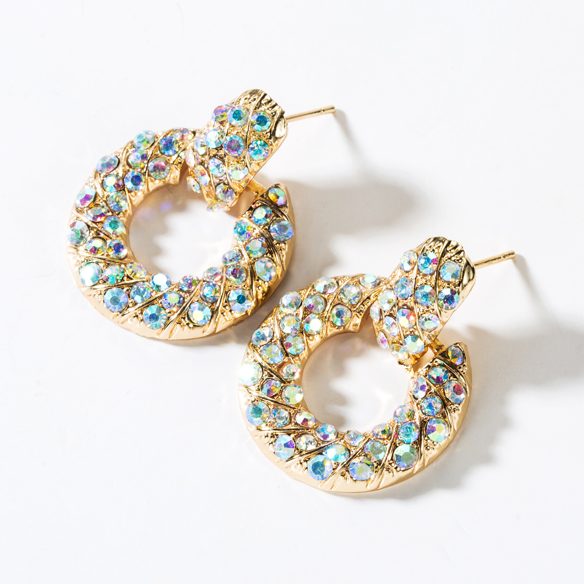 Round alloy diamond-studded color hoop earrings NHJE151427