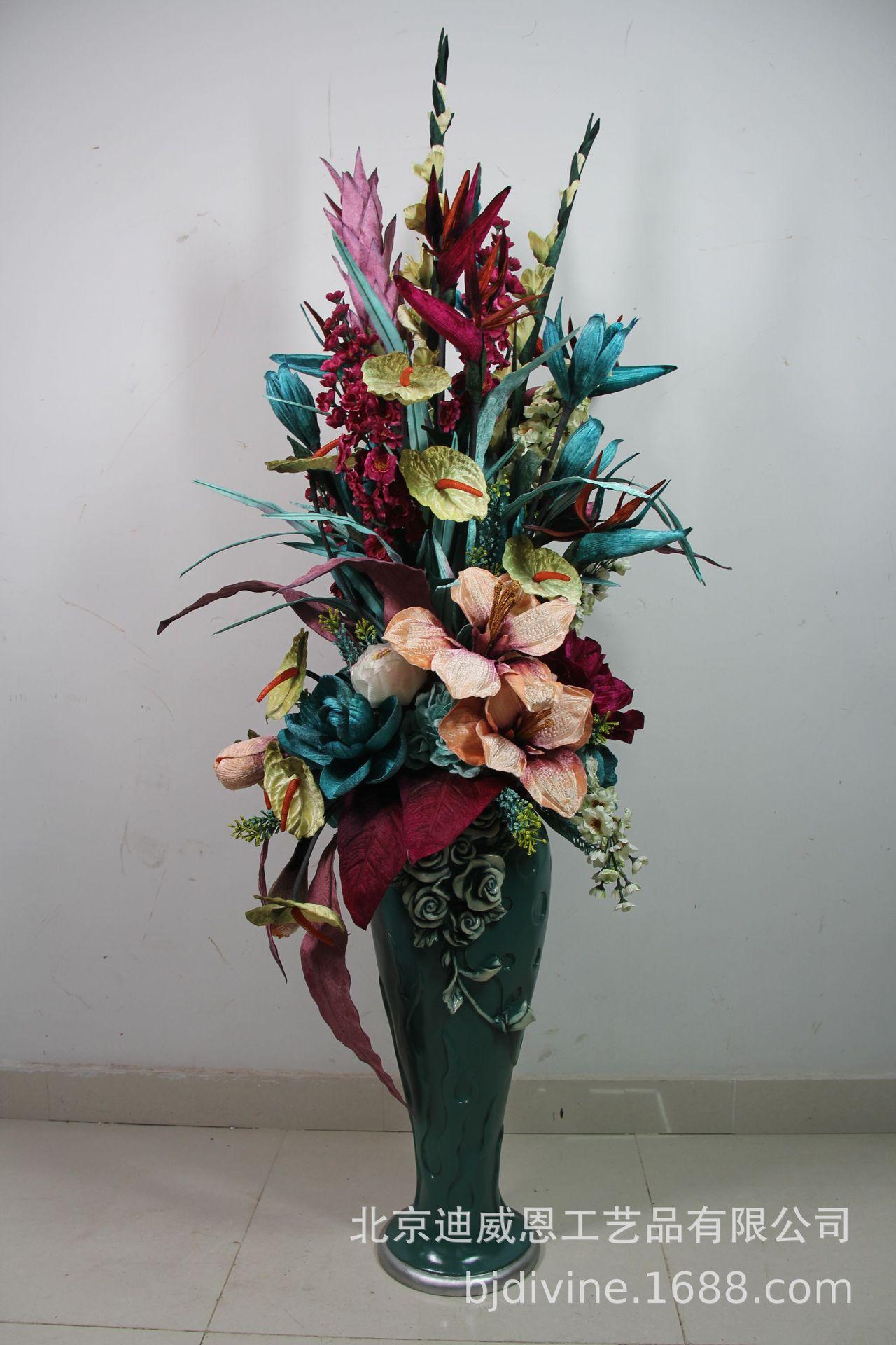 迪威恩仿真花客廳落地花藝套裝歐美風格樣板間家居裝飾擺件定制