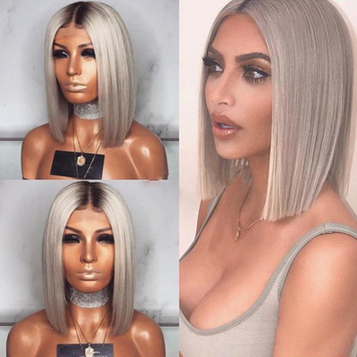 Bob Hair Wigs Perruques Bob Hair Pelucas De Cabello Bob Wig womens black grey dyed gradual Bobo wave head long hair short straight hair Synthetic Wigs hair