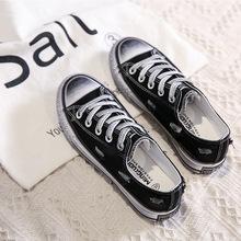 一件代發臟臟帆布鞋女韓版百搭復古休閑平底系帶女式布鞋學生女鞋