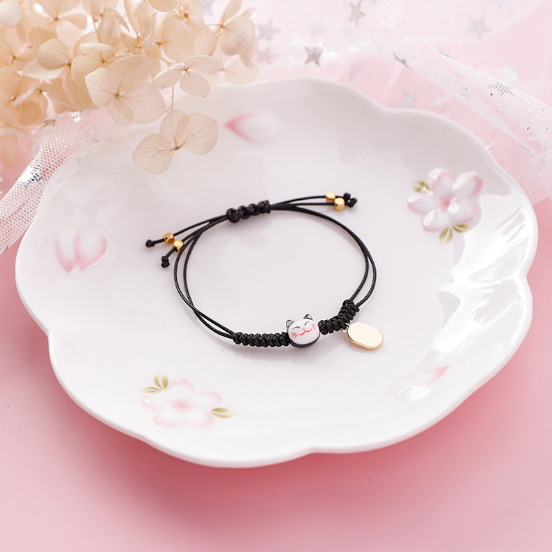 Alloy Korea Animal bracelet  Weaving trumpet cat pink  Fashion Jewelry NHMS2237Weavingtrumpetcatpink