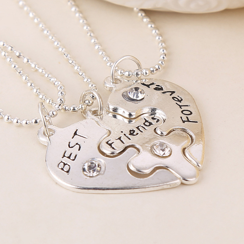 Fashion jewelry good friend love diamond best friends forever stitching necklace wholesale NHMO207973