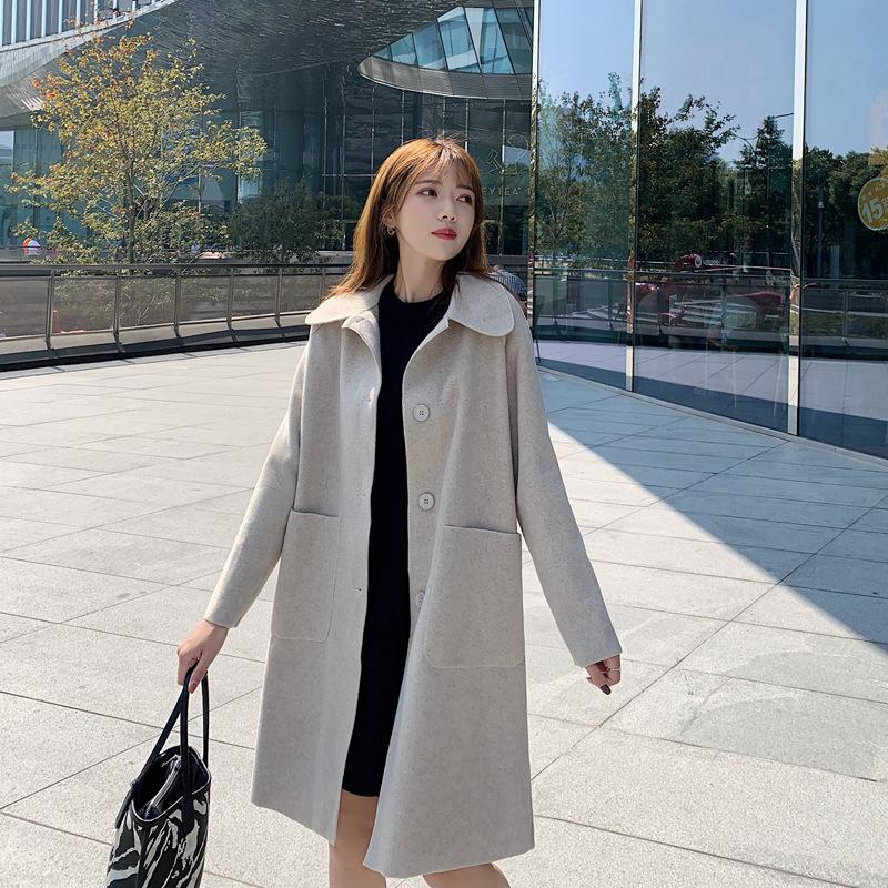 毛呢外套女中长款显瘦秋冬新款韩版赫本风复古流行呢子大衣小个子