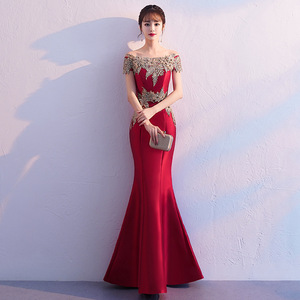 Chinese Dress Qipao for women red one shoulder fishtail dress wedding party evening dress female aura queen Robes chinoises