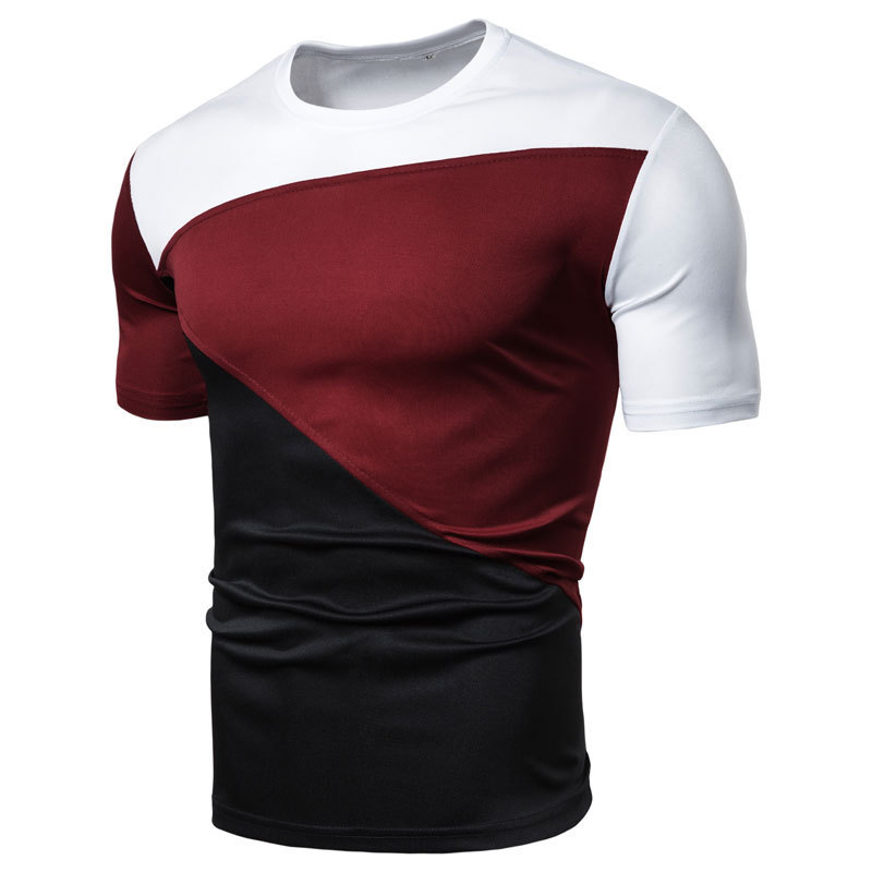 Men's T-shirt with short collar and short sleeve