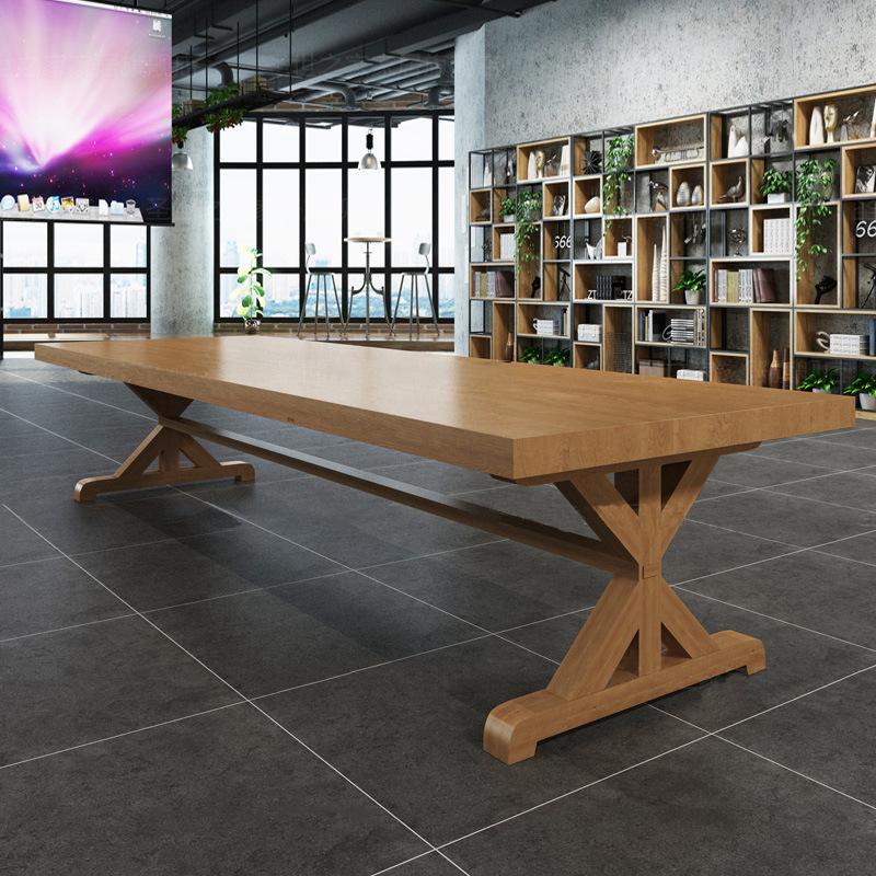 简约实木办公桌家具 会议培训洽谈长条桌子公司职员办公电脑桌椅