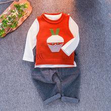 中小童19年秋季新款毛衣长袖背心三件套卡通圆领时尚童套装