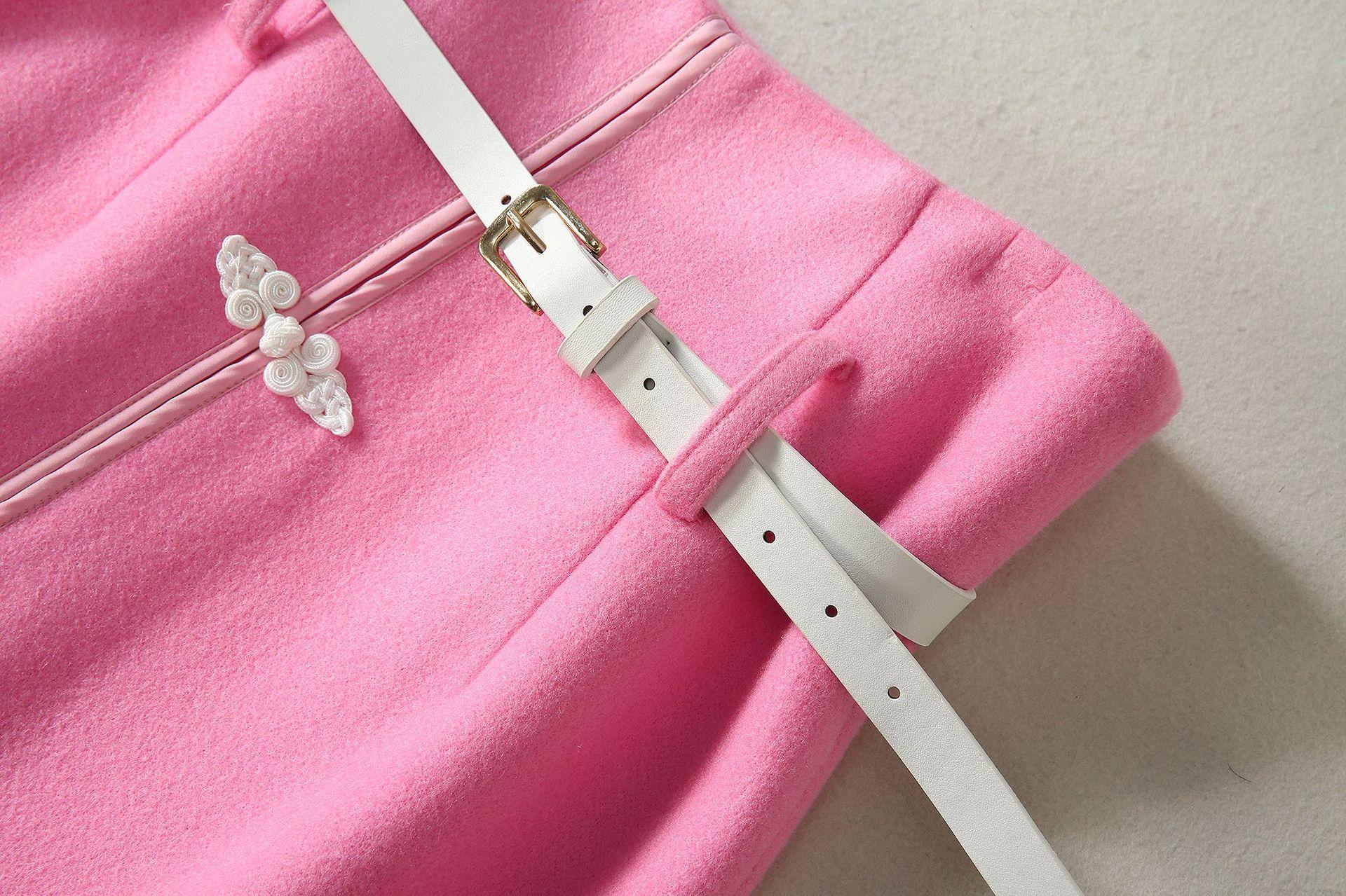 1119-04 粉色长袖针织外套搭高领坎肩格子毛衣内衬配高腰