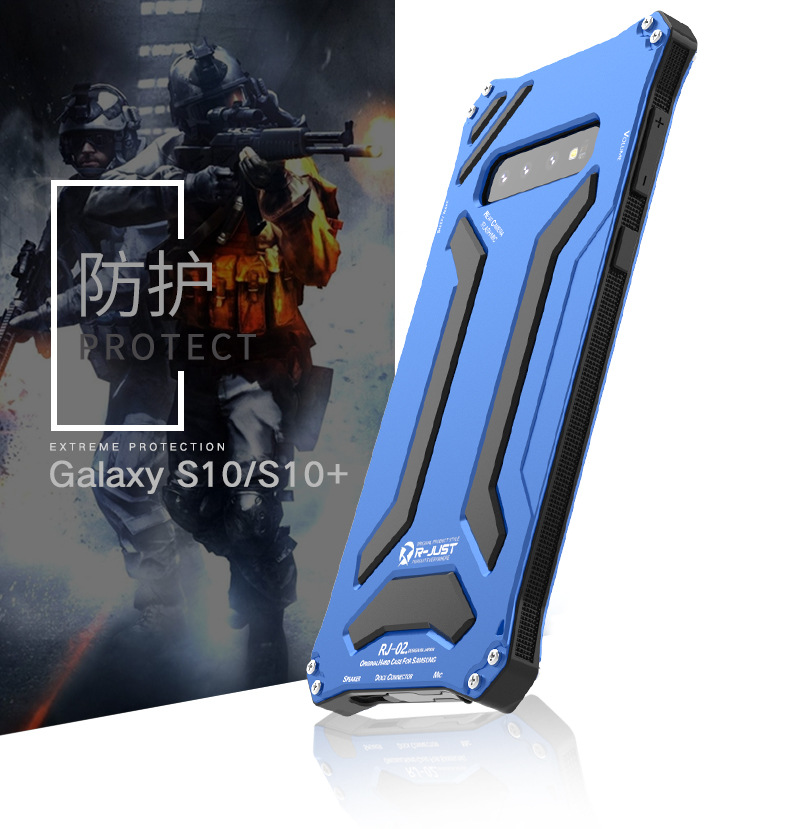 R-Just Gundam Water-resistant Shockproof Dirt-proof Snow-proof Premium Armor Heavy Duty Metal Protective Case Cover for Samsung Galaxy S10 Plus & Samsung Galaxy S10