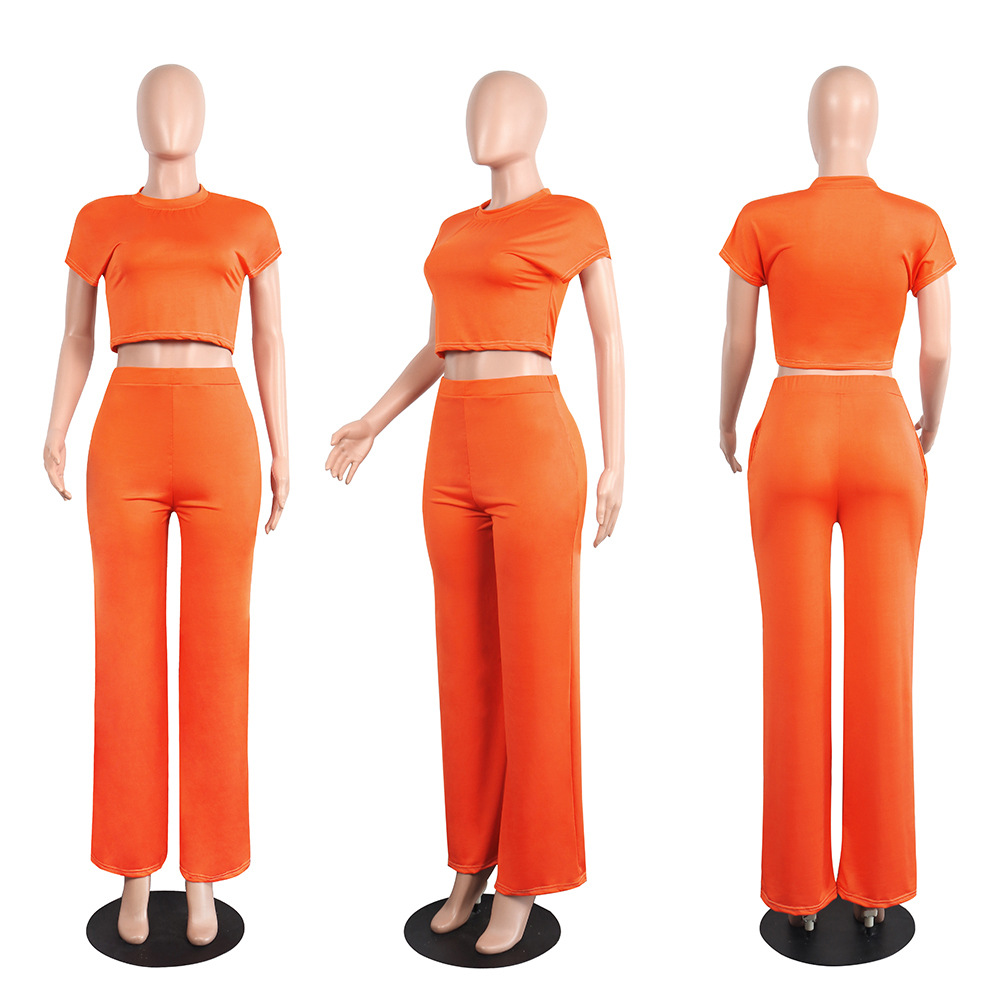 New round neck short sleeve pants clothing sets multicolor NHRF140517