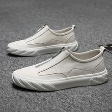 2019真皮新款板鞋男潮鞋韩版休闲鞋牛皮拉链低帮时尚套脚鞋168-C