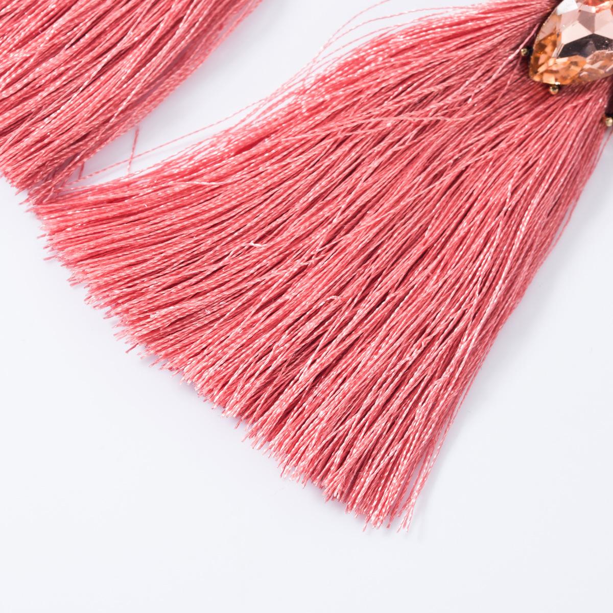 Diamond-studded long tassel earrings NHJE155649