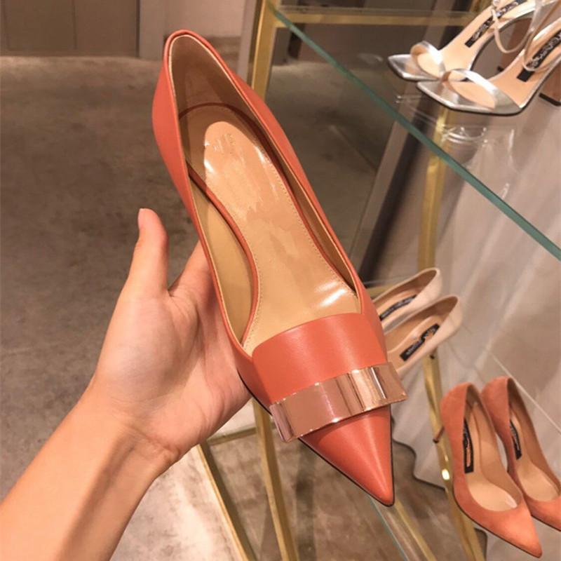 وأشار النسخة الكورية من جديد المشمش 2020 أحذية عالية الكعب مع أحذية العمل المهنية السوداء أحذية نسائية واحدة صغيرة الحجم 313233
