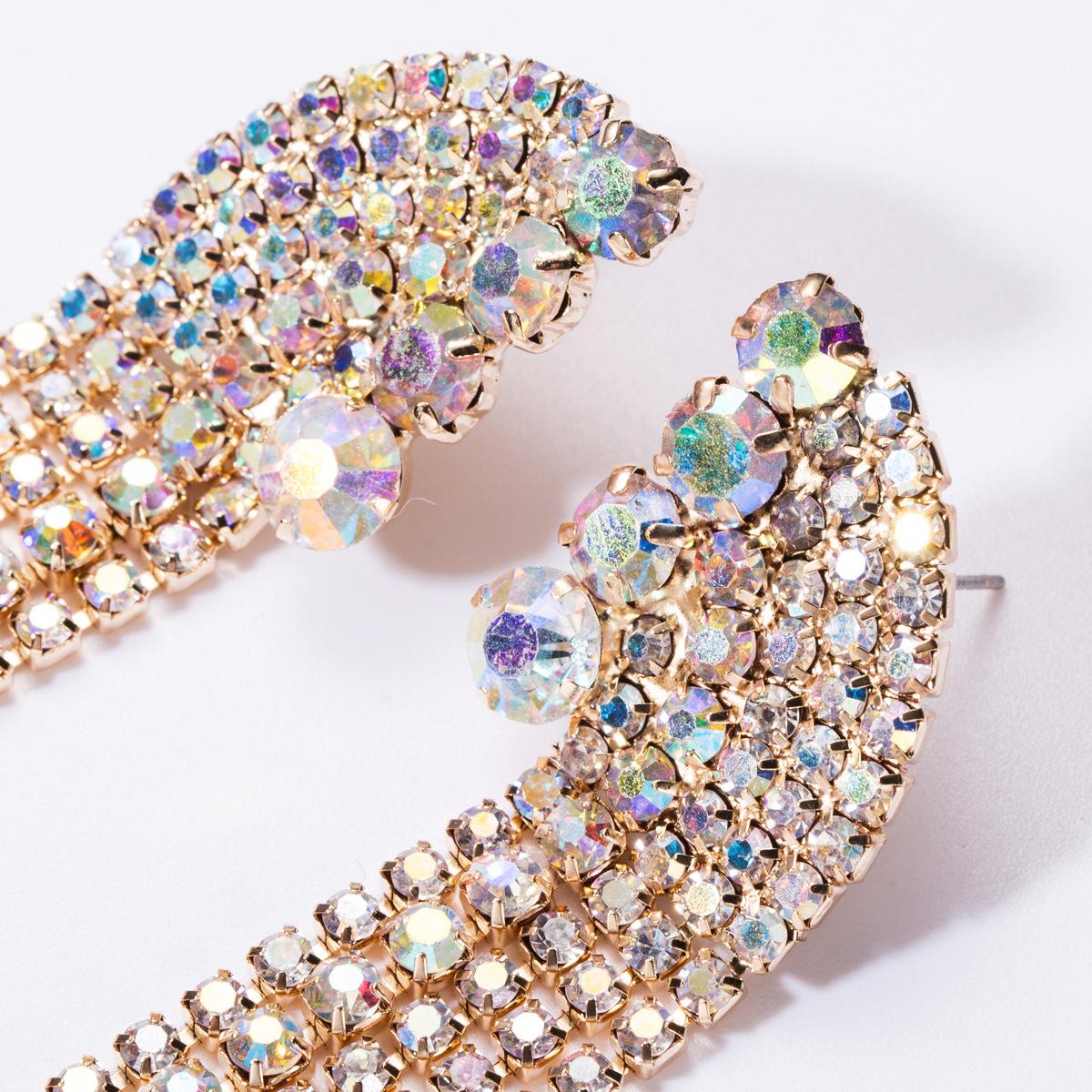 Claw chain fashion rhinestones with diamonds long tassel earrings female earrings NHJE176140