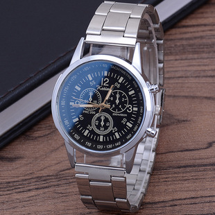 Factory direct sale colorful blue glass three-eye steel band watch for men, fashion trendy gifts, men's watch wholesale