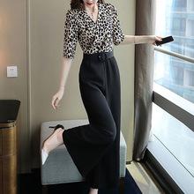 2019年新款女裝夏季修身顯瘦豹紋連體褲V領中袖闊腿褲仙女學生潮