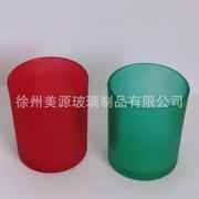 供应出口5盎司玻璃蜡烛杯 彩色直筒玻璃杯白色磨砂蜡烛杯