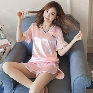Pajamas women summer short-sleeved V-neck imitation silk suit summer short-sleeved ice silk sweet and cute two-piece home service