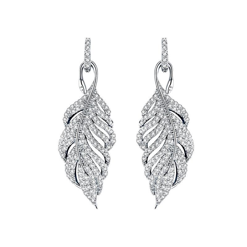 Fashion feather zircon s925 silver needle hollow leaf stud earrings NHDO158569