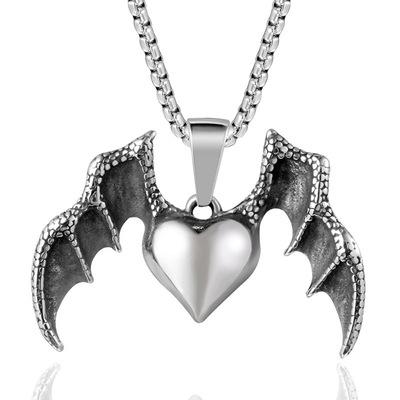 时尚原创项链 个性爱心翅膀钛钢吊坠夜店潮人时尚项链SP112-198