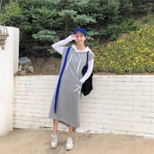 2019韓版秋裝大碼拼色帽衛衣裙長款時尚顯瘦無袖連帽毛圈棉連衣裙