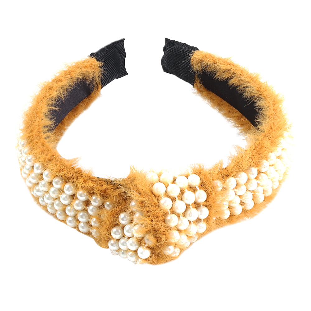 Women's broad-knit mink hair trendy hoop with pearl knotting solid color knitted hair accessories NHMD183549