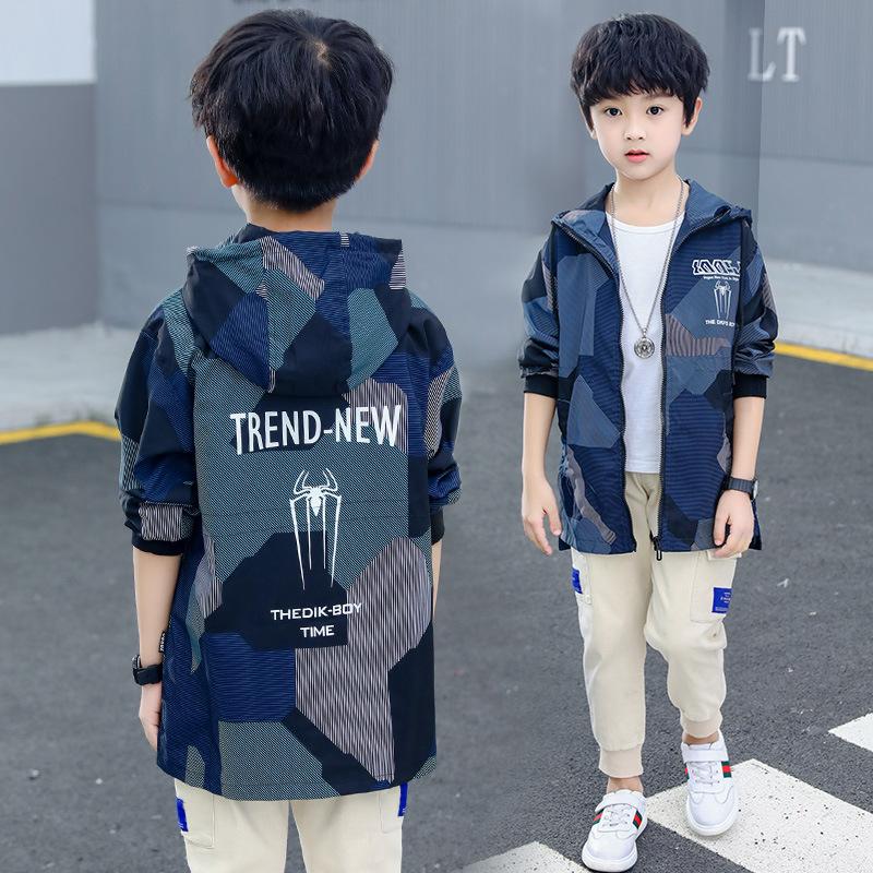 外贸童装2021新款男童风衣外套秋装儿童韩版中长款夹克上衣春秋季