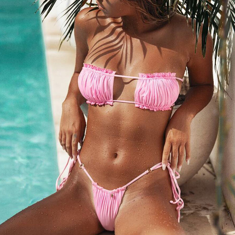 New swimwear hot sexy pleated hollow bikini wholesale NHDA205003
