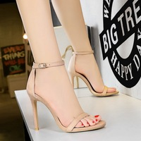 829-2 Euro-American Fashion Simple Summer High-heeled Shoes Women's Fine-heeled Super High-heeled Suede with Open-toed Sandals