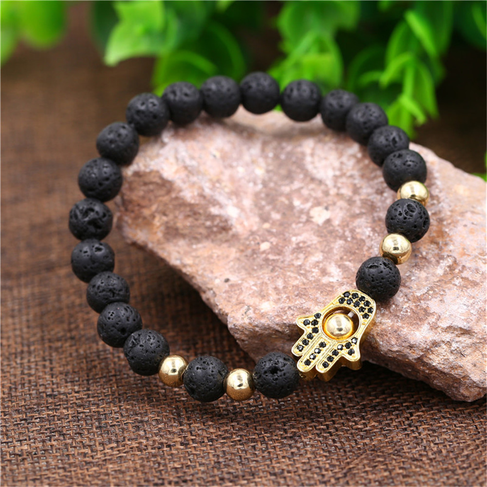 Hot Selling Volcanic Stones Hand Wear Micro Inlaid Zircon Fatima Palm Four Color Bracelet Wholesale NHZU198280