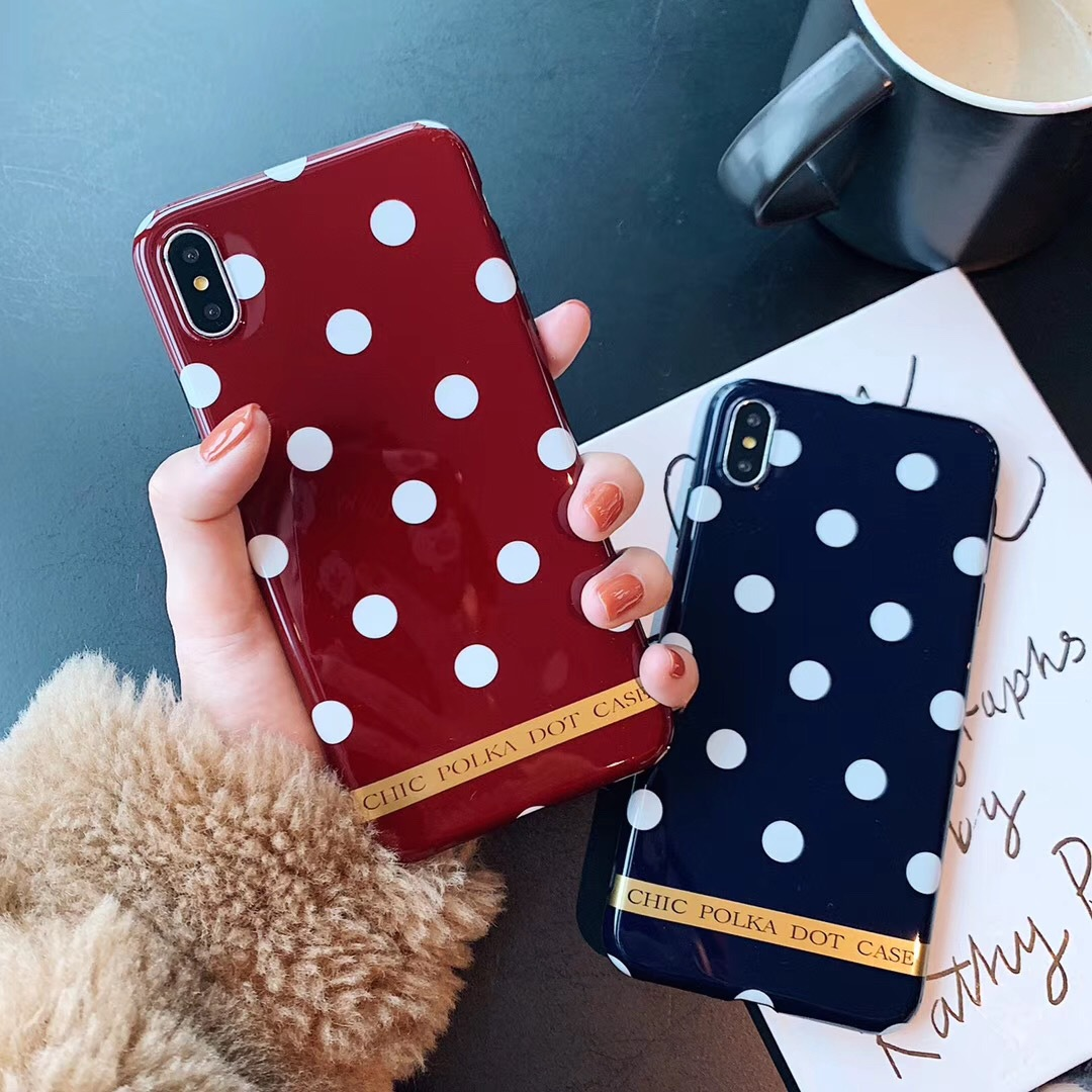 Ins wind simple bronzing wave point for Apple x mobile phone case iPhone8/7plus/6 female XS MAX/XR soft