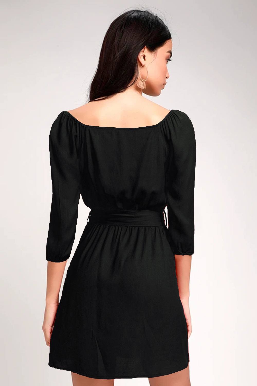 strapless three-quarter sleeves double-breasted women's dress NSDF1854