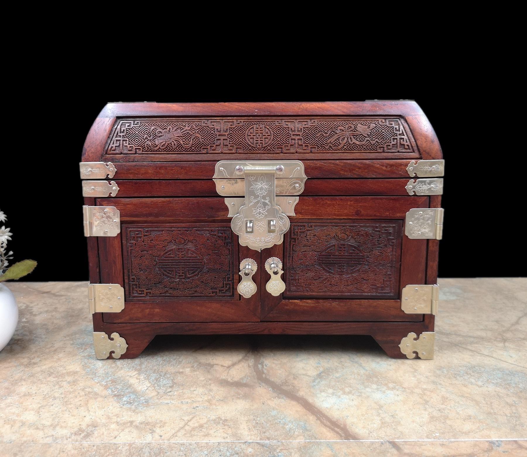 老挝大红酸枝化妆盒嫦娥奔月红木首饰盒批发定制展销会热卖货源