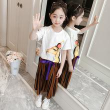 圆领短袖刺绣套装夏季新品女童小鹿印花时?#34892;?#38386;中大童裤套装
