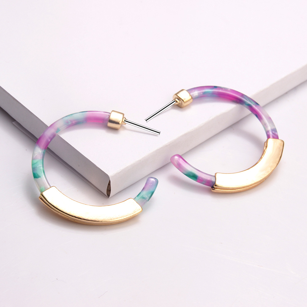 Fashion Cshaped Alloy Acrylic Earrings  NHAYN336576